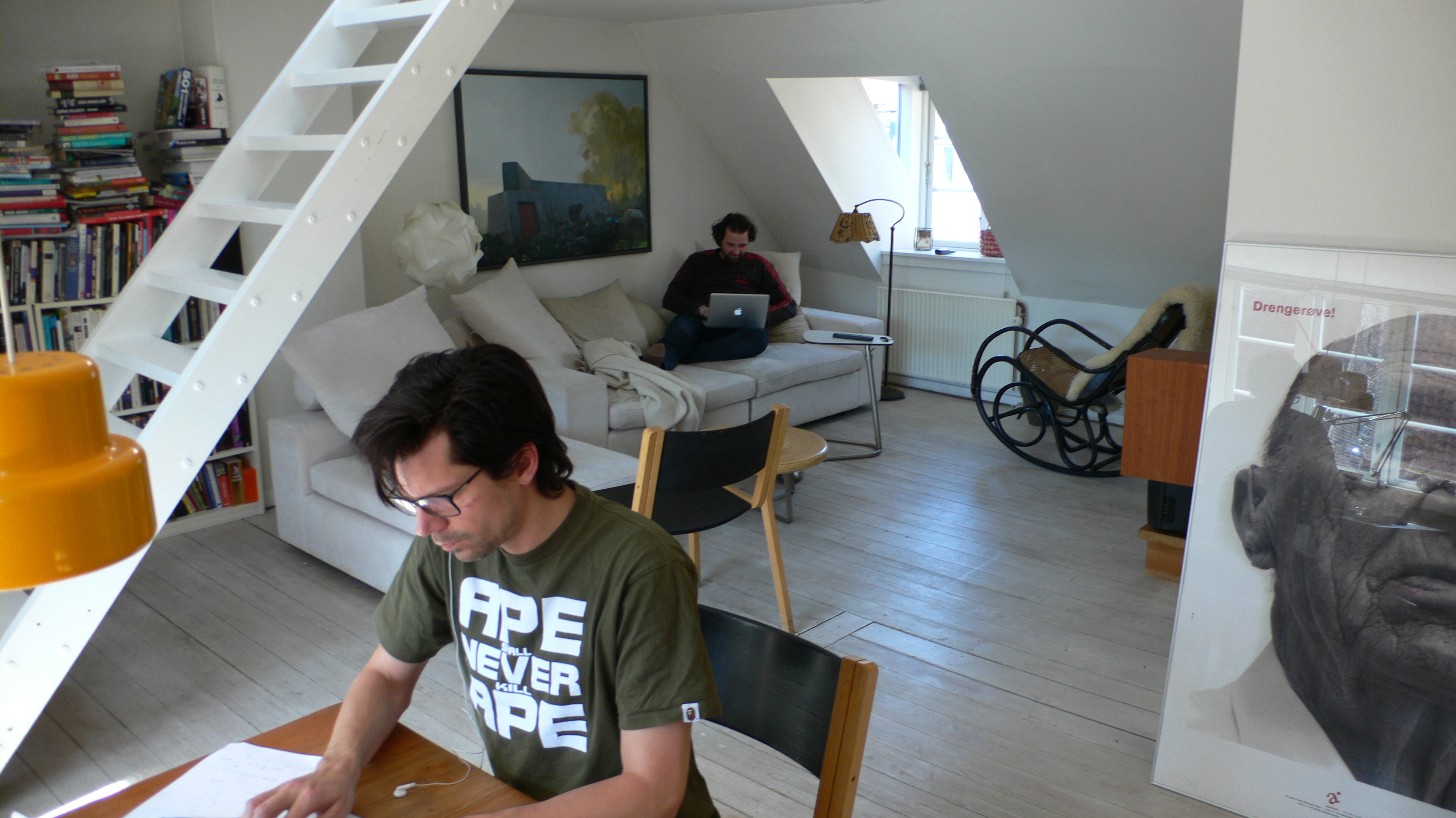 Primdahl (at table) and Svane working from the Copenhagen loft where Zendesk was founded in 2007.