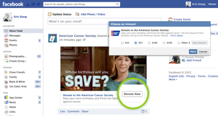 """Facebook Launches """"Donate"""" Button For Non-Profits That Also"""