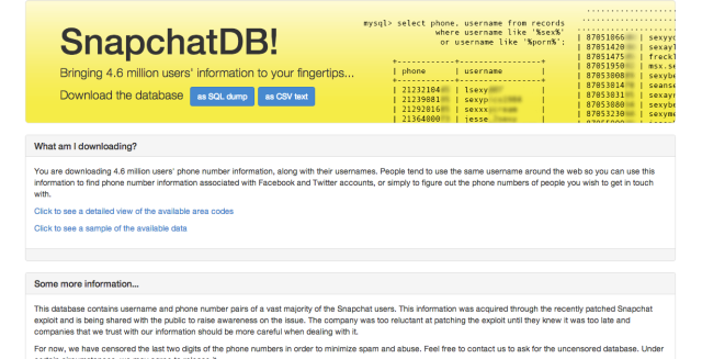 SnapchatDB screenshot 2