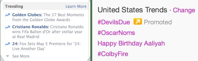 Facebook Trends Twitter Trends