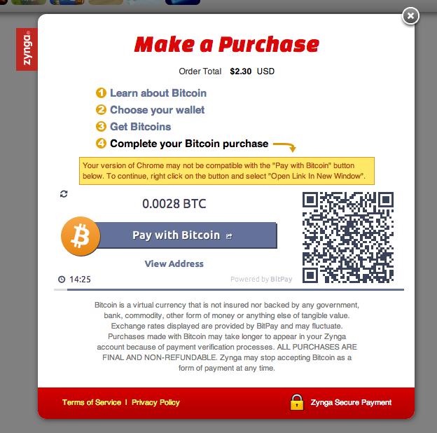 zynga accepts bitcoins