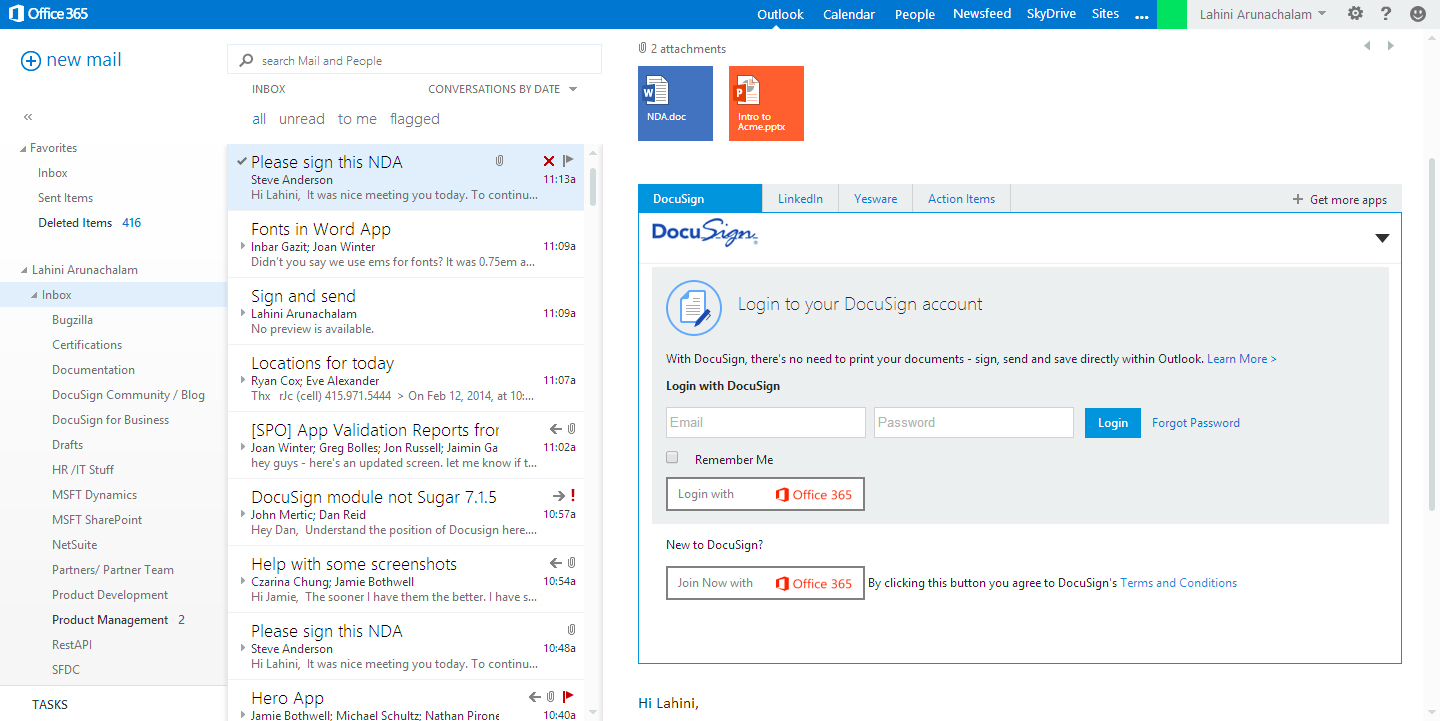 DocuSign for Outlook Web - 1