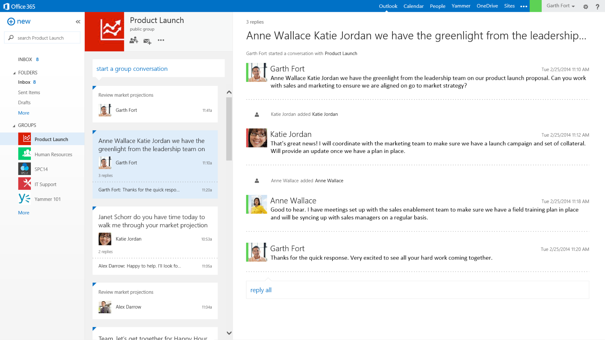 Groups - Outlook View - Creating a Microsoft Group automatically provisions an inbox in Outlook Web App