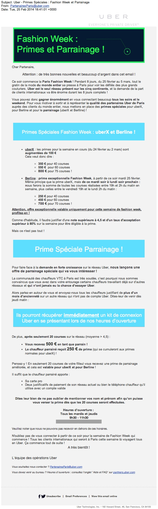 Uber France Bonuses