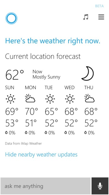 cortana does weather