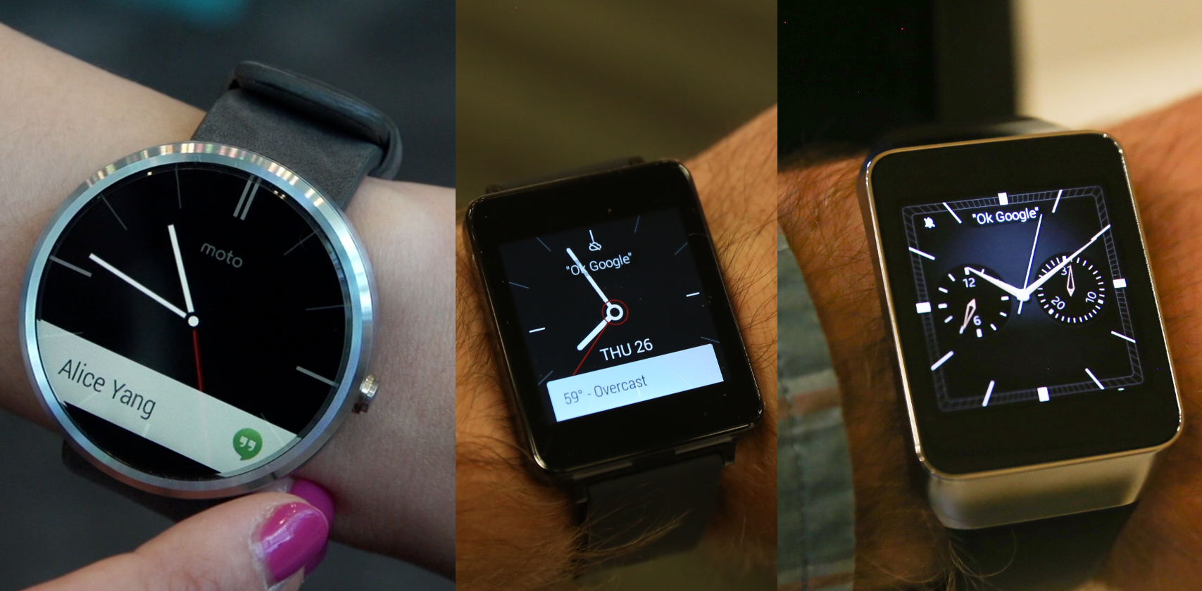 Android Wear android wear wars: the moto 360, lg g watch and samsung gear