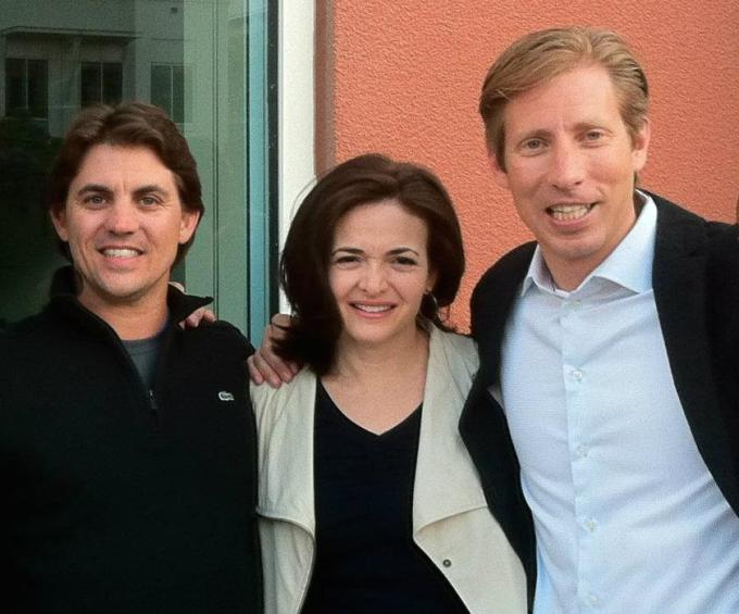 Mike Randall (right) with Facebook COO Sheryl Sandberg and VP Of Advertising David Fischer
