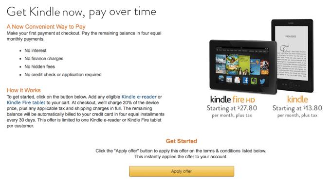 Amazon Kindle payment plan