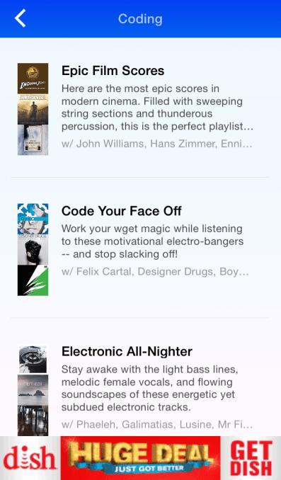 Songza Coding Playlist