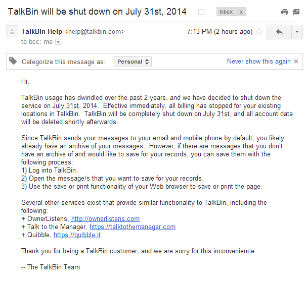 talkbin-shutdown-email