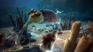 "Opabinia, 5 eyes and a trunk,  a 450 million years old creature from ""David Attenborough in a VR journey""."