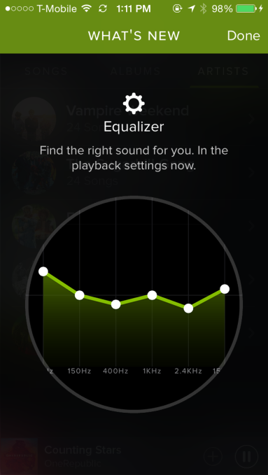 Spotify Adds An Equalizer So You Can Turn Up The Bass