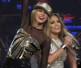 Taylor Swift brought out Jennifer Lopez for one night on her Red tour to surprise her fans. Image Credit: Shine-On