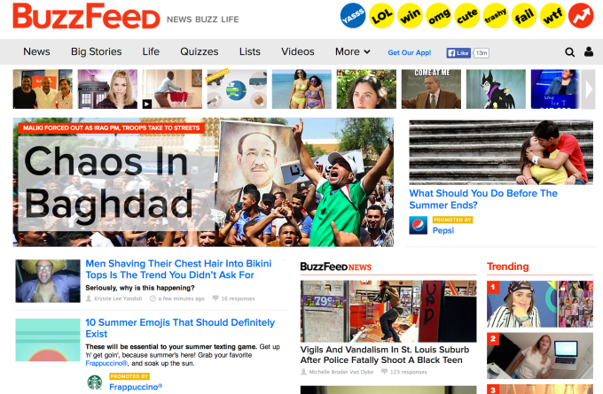 BuzzFeed Homescreen