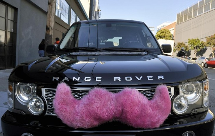 The Pink Mustache Fist P Riding Up Front And Chatting With Driver