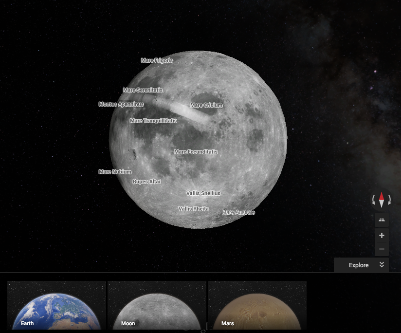 Google Maps Now Lets You Explore Mars And The Moon, If You Know ...