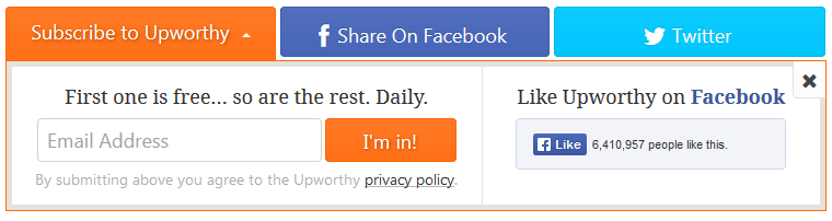 Upworthy e-mail sign-up form
