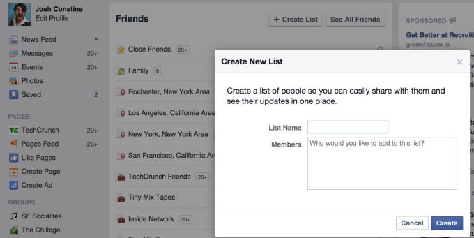 Facebook List Creator