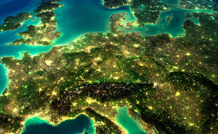 aerial of Europe with lights