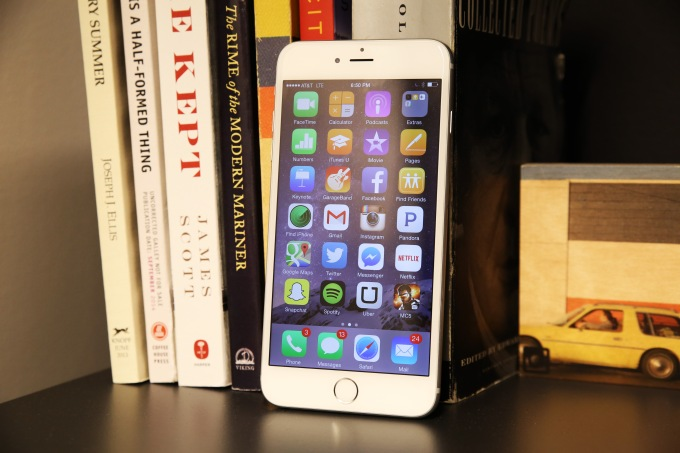 iPhone 6 Plus on Bookshelf