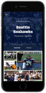 Fancred app with Seattle Seahawks fan photo album.