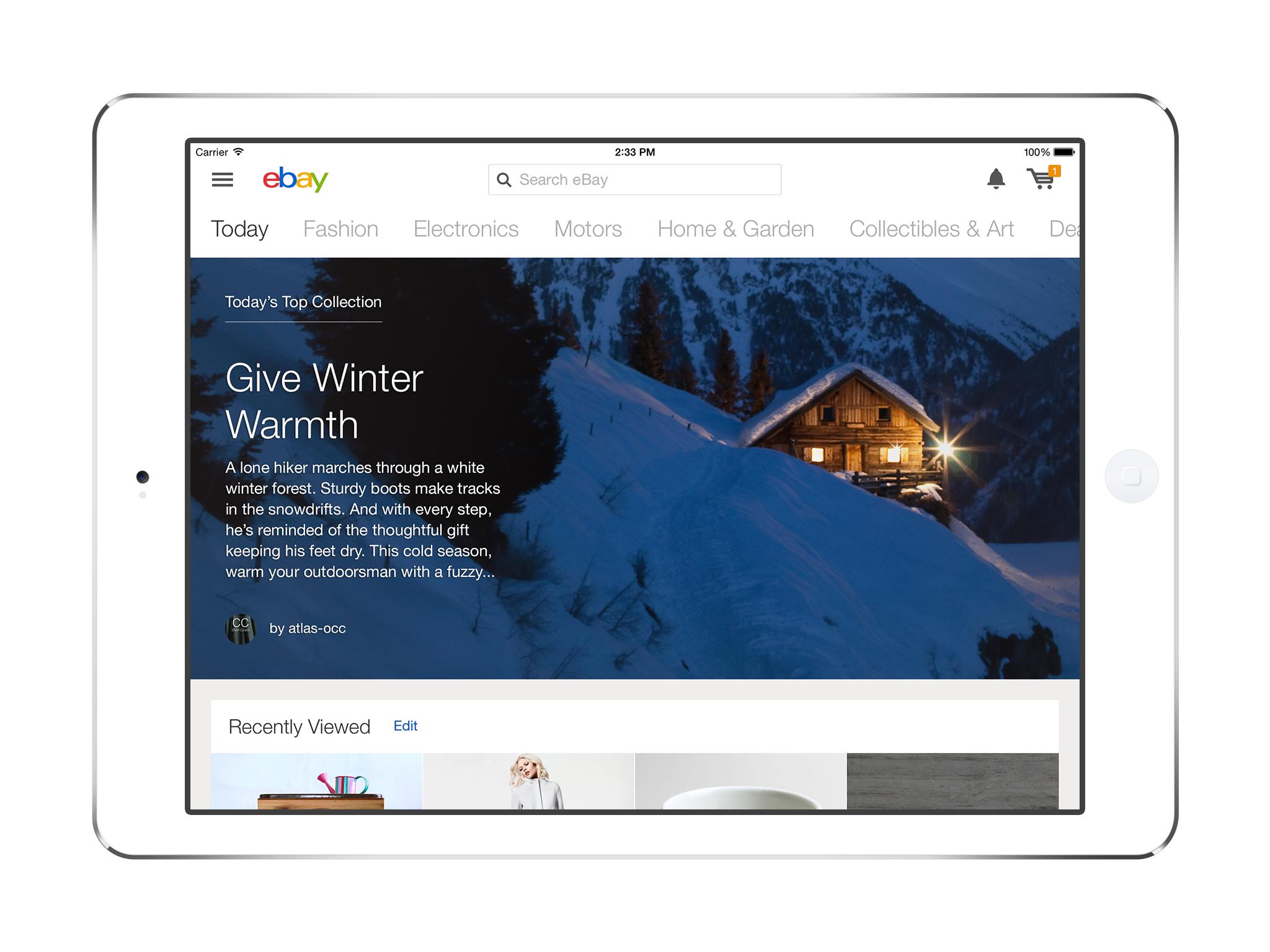 Ebay s new ipad app design hints at its e commerce future for Best home decor apps ipad