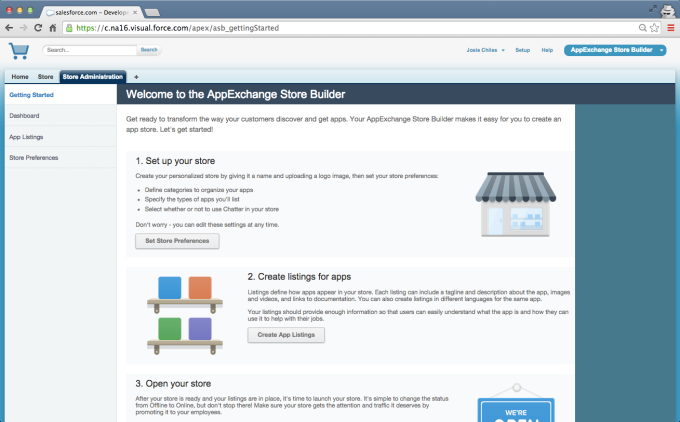 AppExchange Store Builder getting started page.