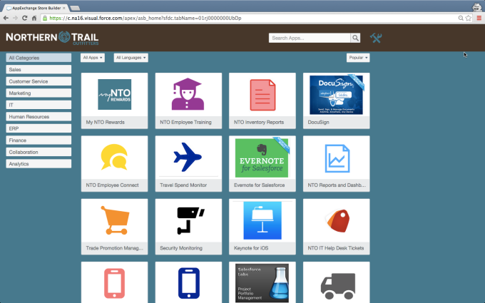 Salesforce AppExchange Store Builder example.