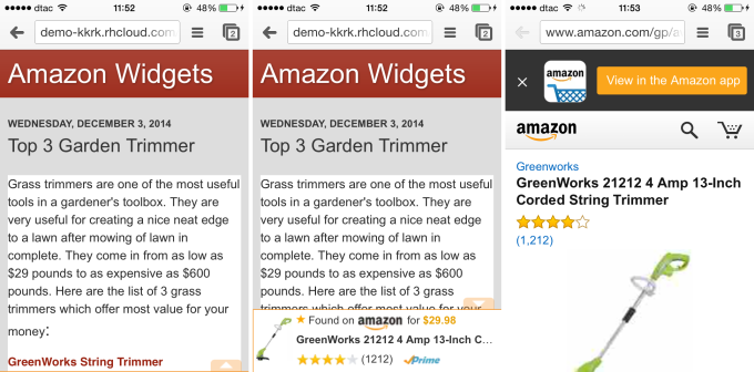 amazon mobile popover