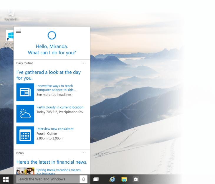 microsoft cortana download windows 10