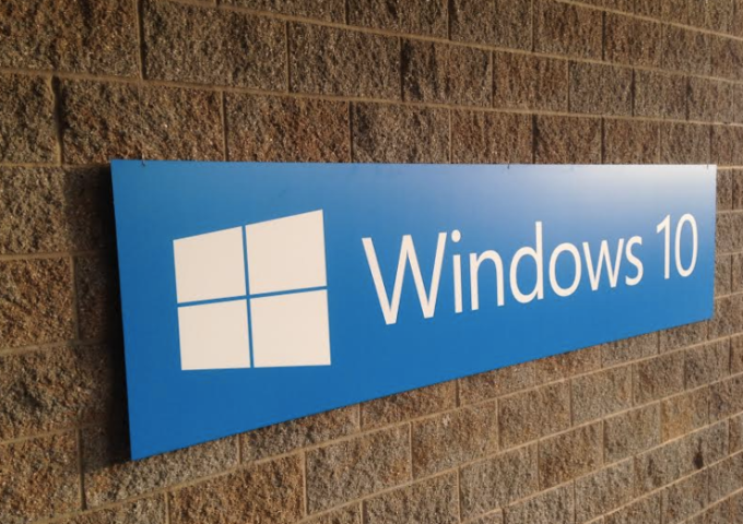 A Windows 10 sign on Microsoft's campus.
