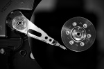 Exposed spinning hard drive