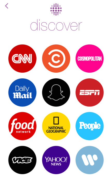 Snapchat Discover Homepage
