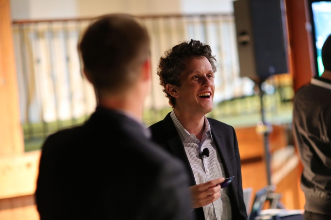 Aaron Levie enjoying a laugh back stage at TechCrunch Disrupt San Francisco in 2013