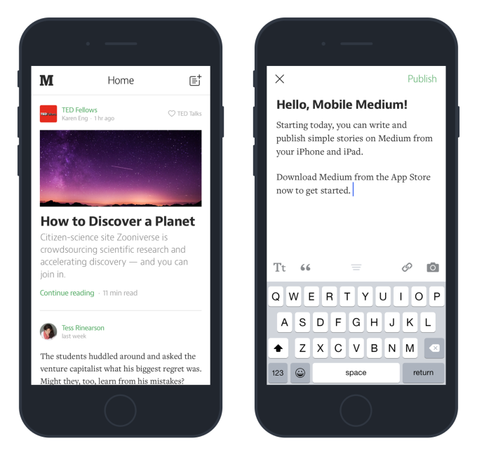 Medium writing iOS