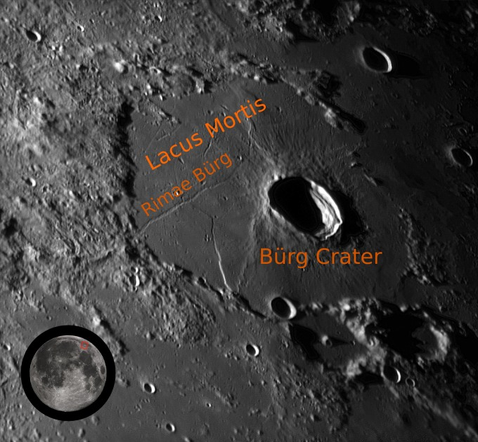 "Two lunar skylights, what lunar scientists believe are the collapsed ceilings of ancient lava tubes, are known to exist in the Rimae Burg Rille structure in Lacus Mortis, Latin for ""Lake of Death."" Astrobotic intends to make a precision landing at 100 meters offset from the edge of the skylight in the effort to win the XPRIZE."