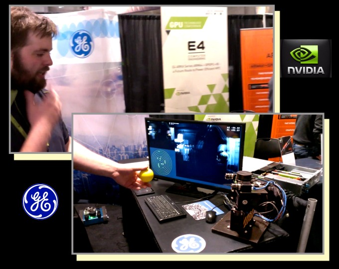 At Nvidia's GPU Tech Conference, General Electric engineer Dustin Franklin demonstrates Nvidia Tegra K1-based technology driving a mounted stereoscopic camera tracking a yellow ball. The detector system is akin to the tech to be used by the Griffin lander. Franklin is one of several GE engineers working alongside Astrobotic's.