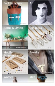 Etsy marketplace on iPhone. It shows a series of rectangles with different markets such as jewelry and home and living.