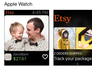 Etsy Apple watch screen confirming purchase.