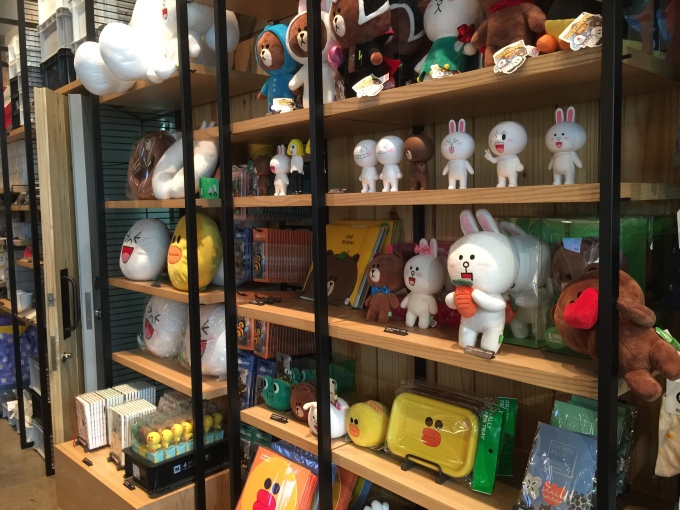 Line's coffee shop also has a gift store. So many things on sale here -- seriously potential to drop a lot of money if I'm not careful...