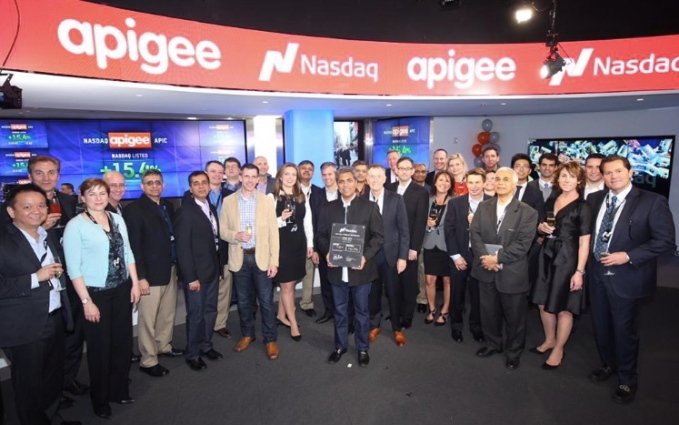 Apigee team poses at Nasdaq on IPO day.