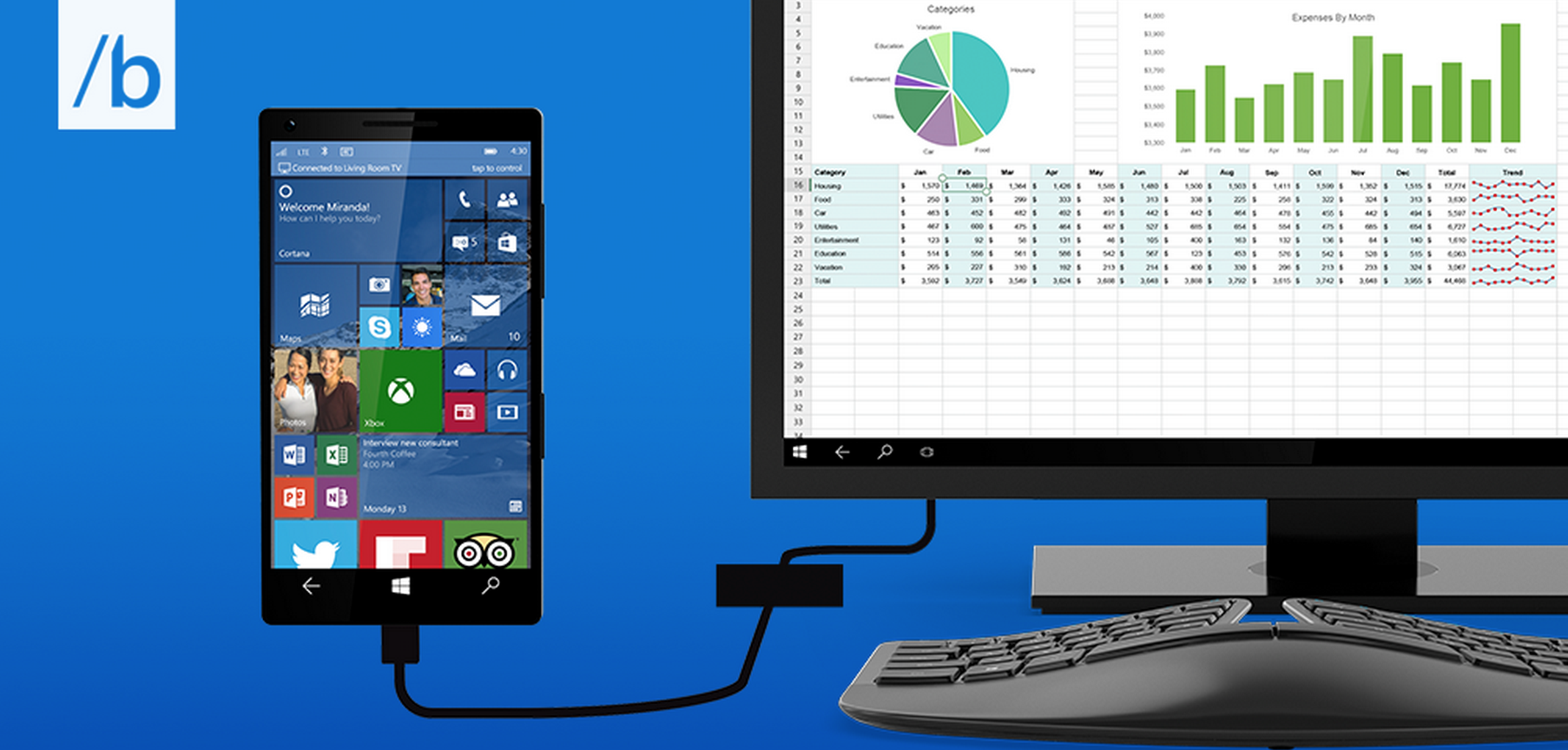 Microsoft Announces Continuum Turning Windows 10 Phones