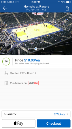 SeatGeek Mobile Checkout Options