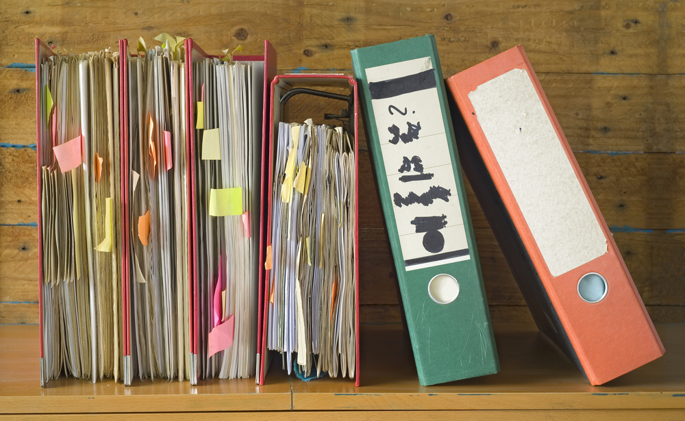 binders, paper stacks