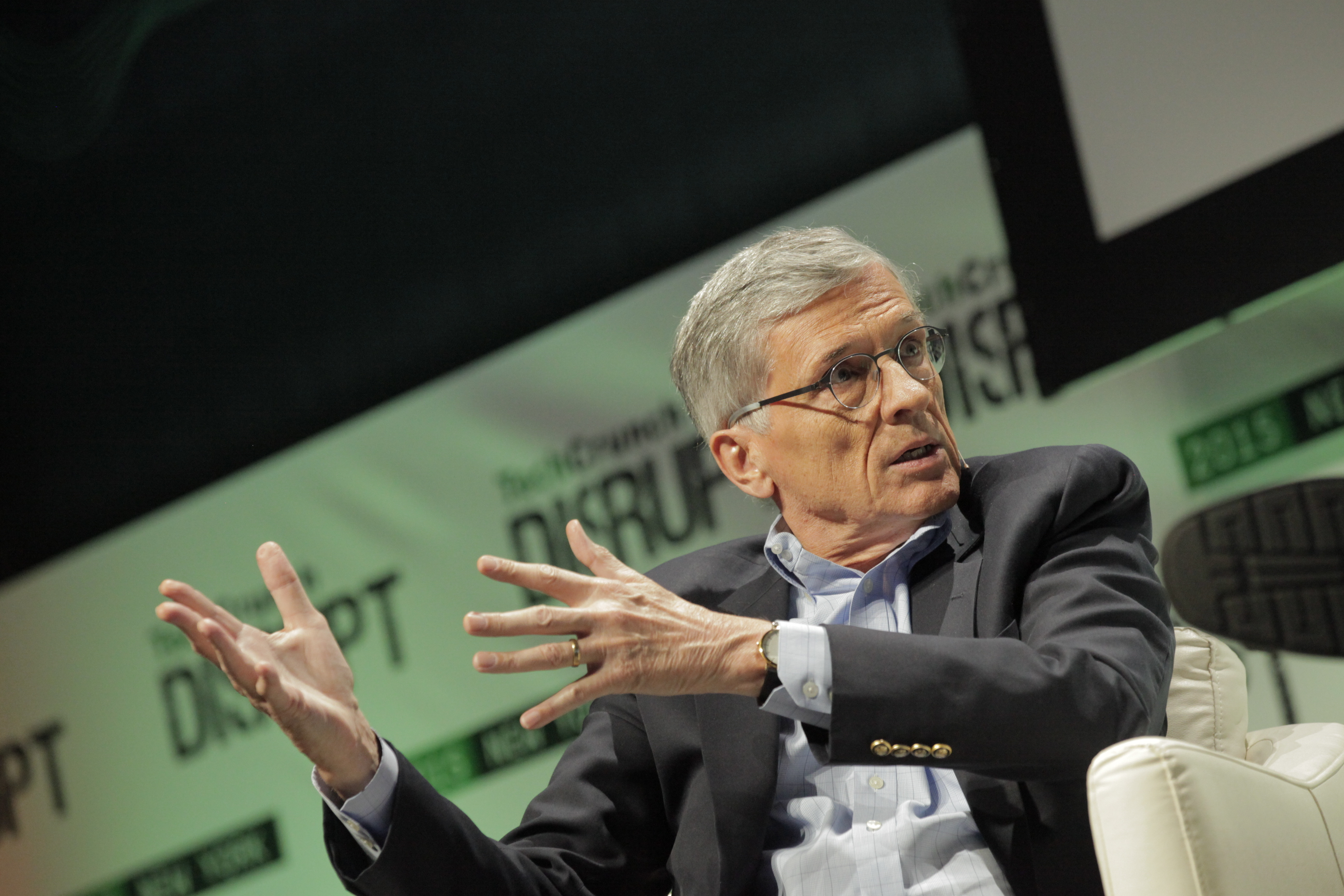 FCC Chairman Tom Wheeler at Disrupt in 2015.