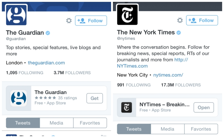 Twitter Tests App Install Cards On News And Other Profile Pages