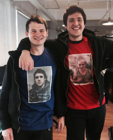 Songkick's Ian Hogarth (left) and CrowdSurge's Matt Jones (right) wearing shirts with each other's faces