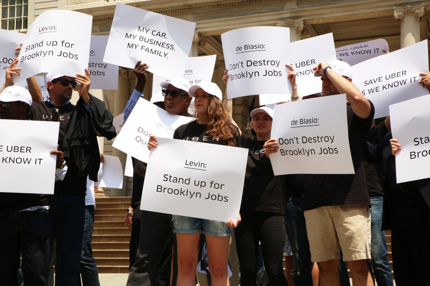 Uber Stages Protest At NYC City Hall Against Bill Throttling New
