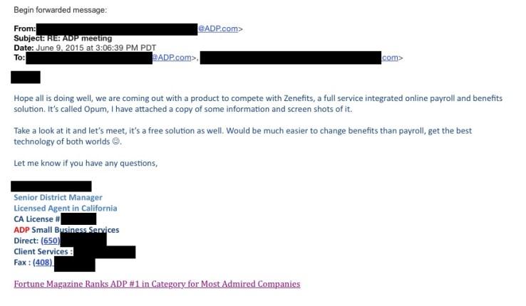 Zenefits ADP email