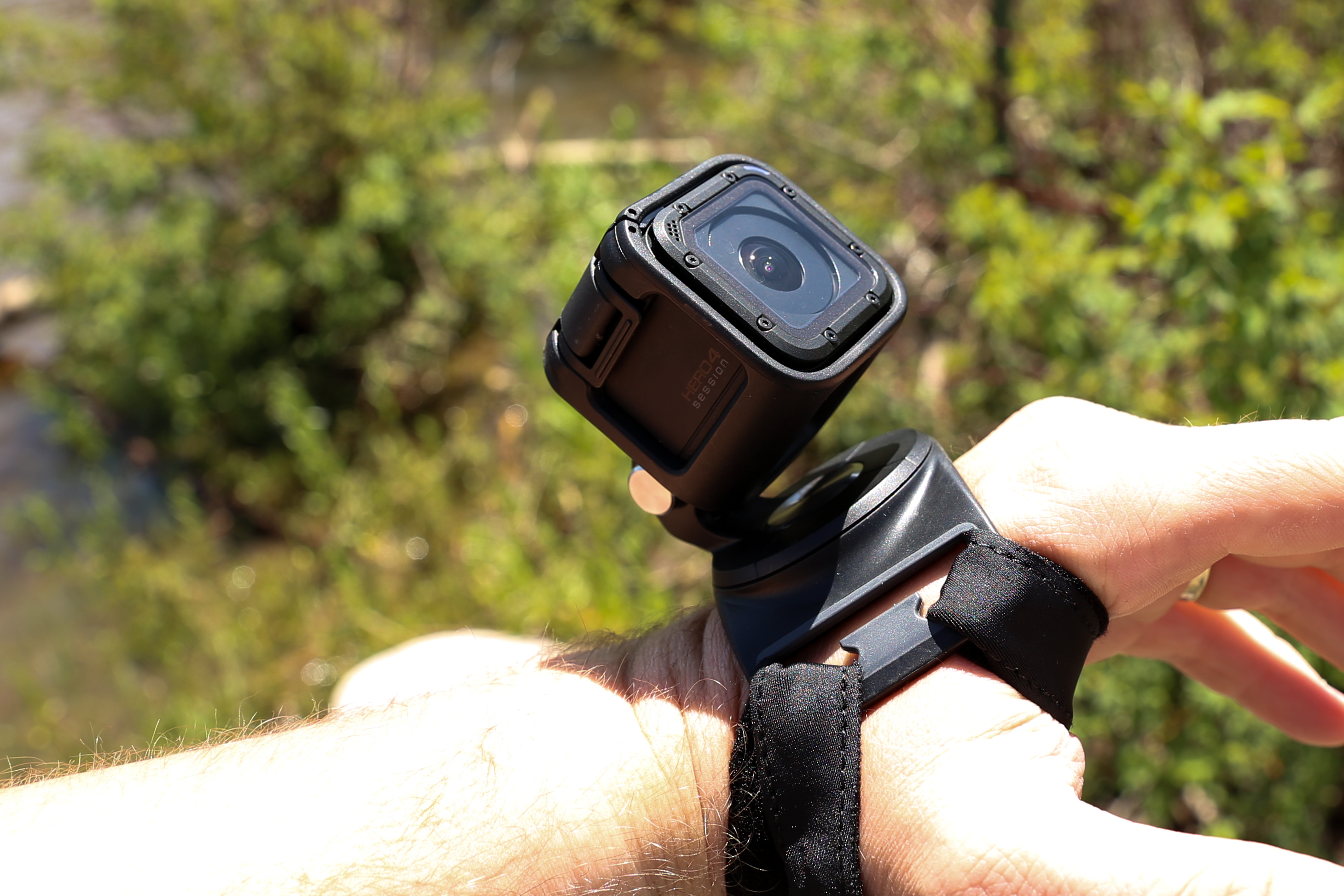 The GoPro Hero4 Session mounted to The Strap, GoPro's latest mount designed to work with the Session and all other GoPro cameras.